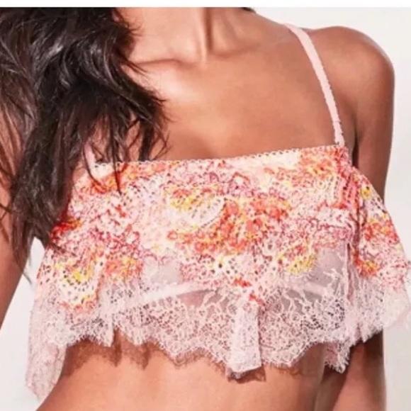490d13376f0 VS Crochet lace ruffle Flounce flutter Bralette. NWT. Victoria s Secret.   11  39. Size. XS